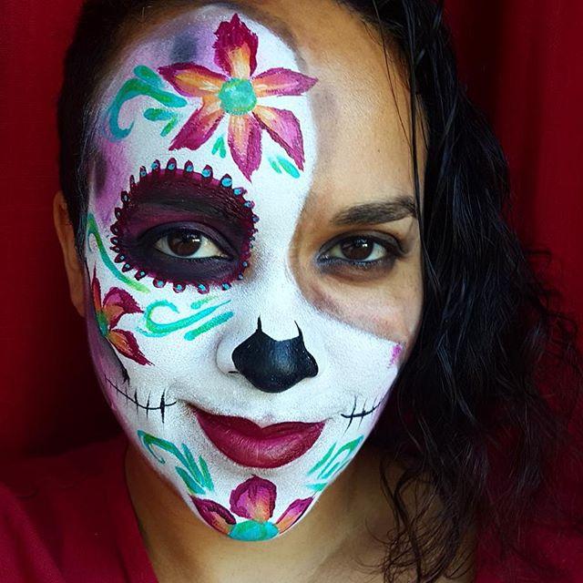 My #Lisajoyyoung  sugar skull  #nanycaritas #sugarskull #catrina #calabera  #facepainting #brooklynf