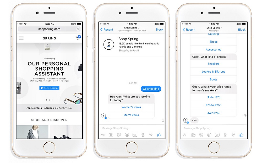 Facebook messenger shopping bot