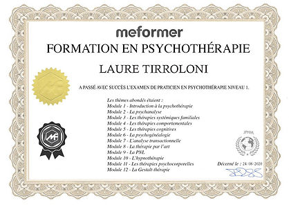 CERTIFICAT-Psychothérapie-LAURE tirrolon