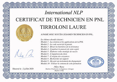 CERTIFICAT PNL LAURE TIRROLONI