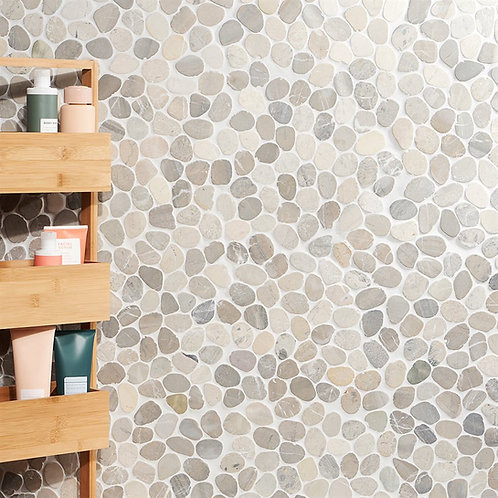 Grey Natural Stone Aria pebble Round Shower Wall Dallas
