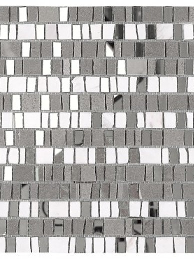 Grey Mosaic Tile with Mirror Pieces in Cream and Silver