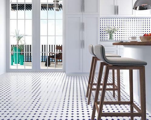 Blue square with White hexagon mosaic tiles Ann Sacks Dallas