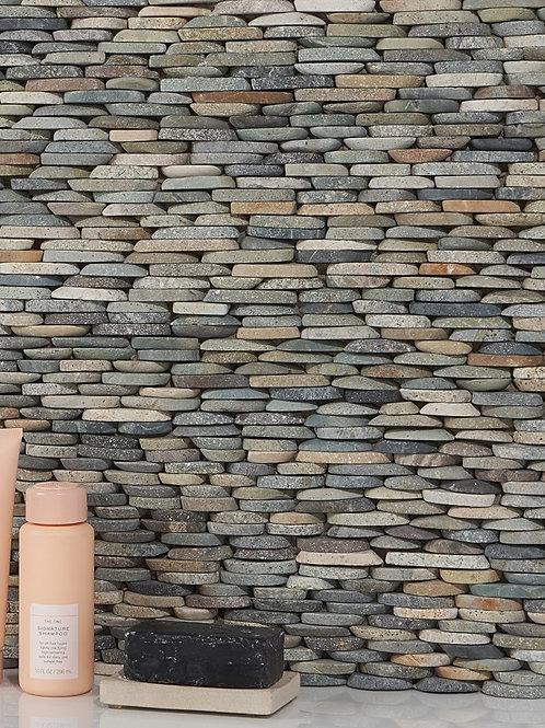 Sumatra Grey Multicolor Pebble Stacked Stone Collection Dallas