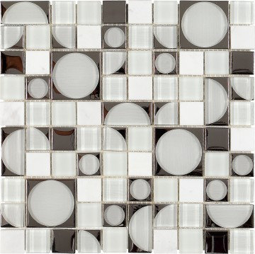 60s circular Shaped reflecting glass and stone tile
