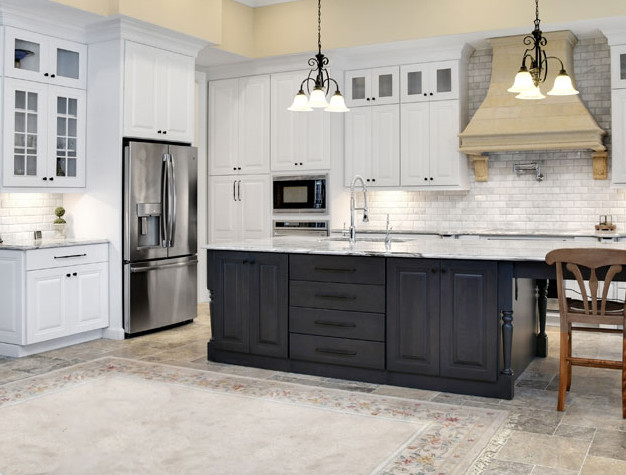 traditional_white_cabinets_gray_kitchen_