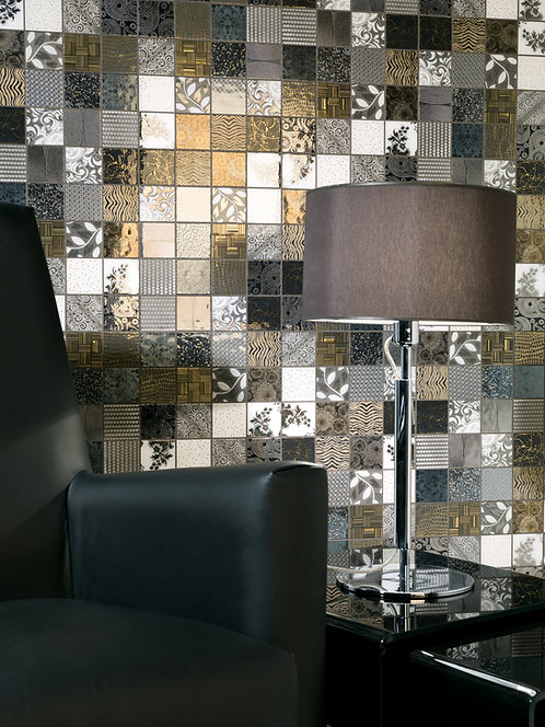 Tiffany Black 3D Tile, White and Black Tile Renaissance Tile, Dallas