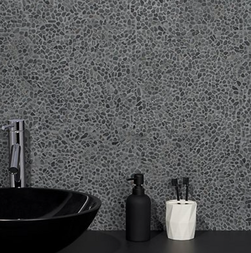 Earthstone Pebble Black Lava Micro Mosaic Burlington Design Gallery