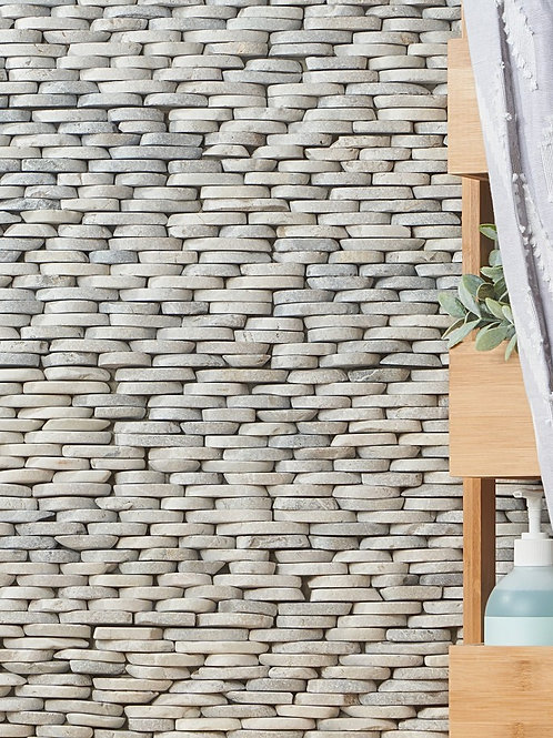 Grey Natural Stone Collection Dallas Pebble Stacked Sliced Stone