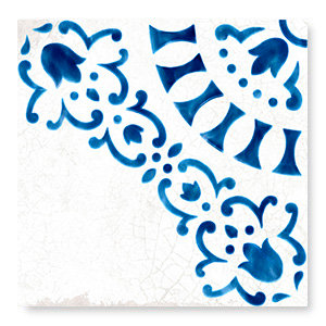 Bedrosaian Tile Artistic Porcelain Tile White Blue Antique Dallas