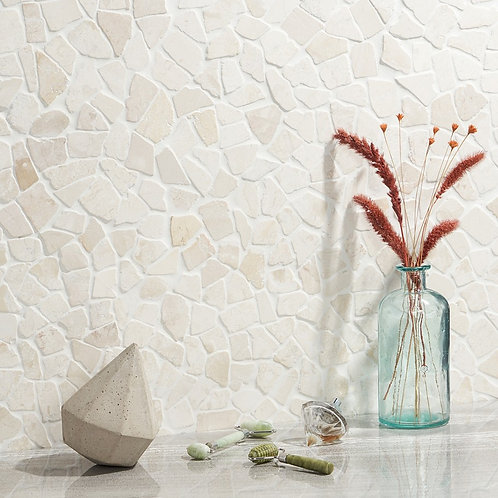 White Light Beige Natural Stone Pebble Mosaic Aria Stone Dallas