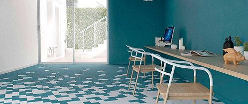 Teal and White Pattern Ann Sack Dallas Tile