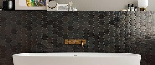 Black Grey Hexagon Polished Ceramic Tile Bar Dallas