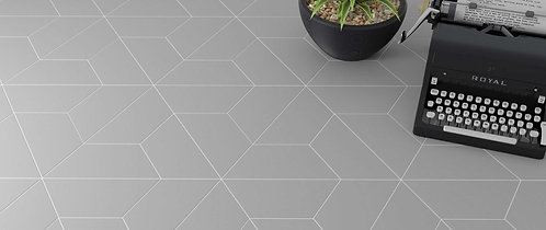 Grey Ash Trapezoid Shaped Porcelain Floor Tile Bar Dallas