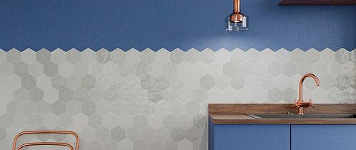 Grey Hexagon Polished Ceramic Dallas Tile Bar