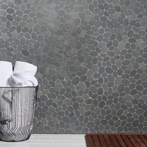 Grey Black Lava Oval Natural Stone Source Mosaic Dallas