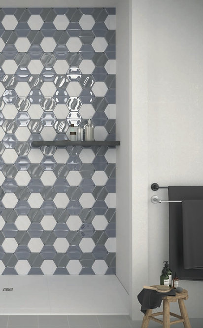 Lucia Storm Burlington Design Gallery Ceramic Hexagon Tile Blue Irving Dallas