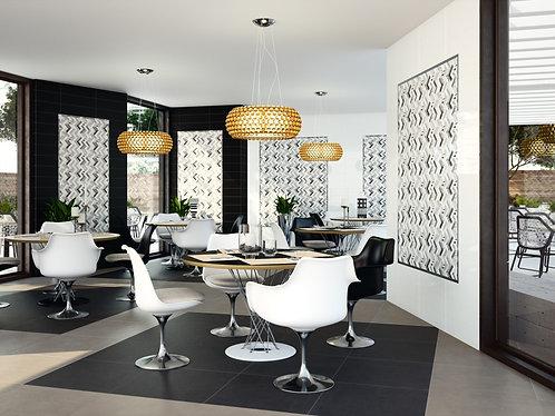 Black, Grey and White Ceramic Zig-Zag wall tile Burlington Design Gallery Ann Sacks Dallas