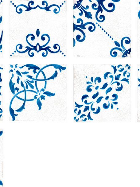 Antique Decor Mix Porcelain Tile White/ Blue