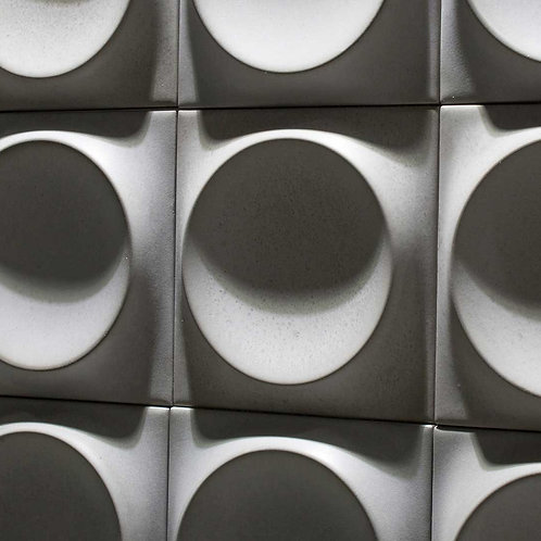 Concrete Grey Circle Moon Artistic TIle 3D