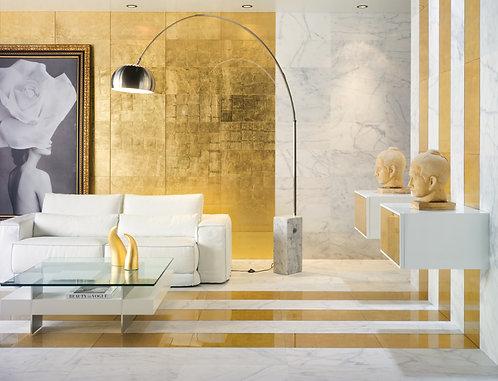 Impressive glass laminated in gold, elegant restroom Dallas Da Vinci