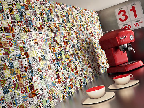 Artistic Ceramic Tile, Backsplash Kitchen Red