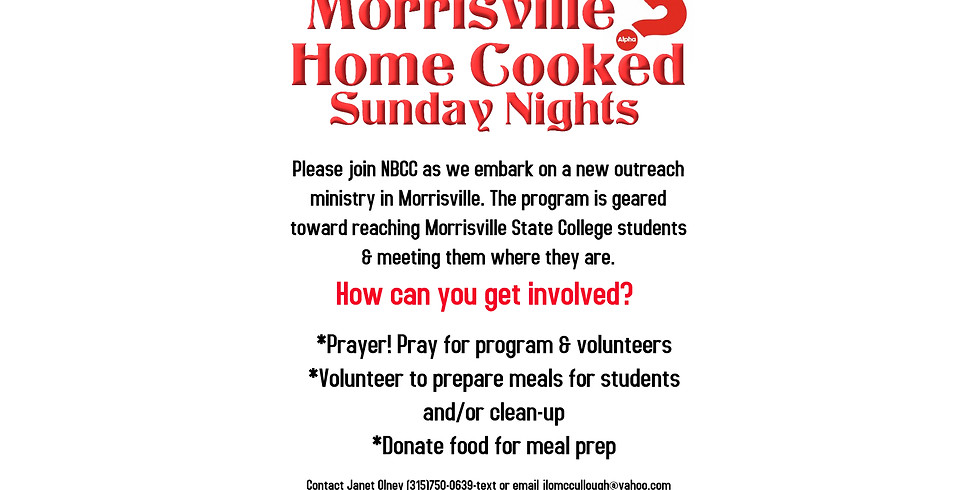 Morrisville Home Cooked Sunday Nights