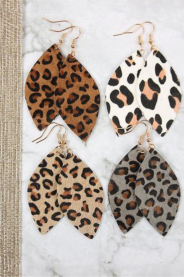 Hde2436 - Leopard Marquise Leather Hook Earrings