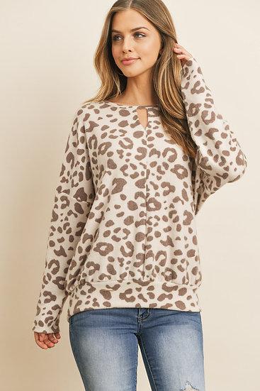 Keyhole Neckline Leopard Top