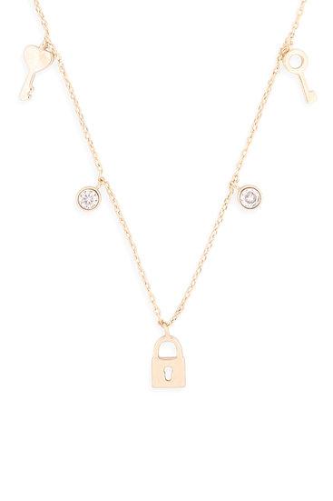 Lnb413 -  Key Lock Zirconia Dainty Chain Necklace