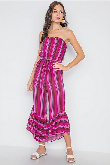 Stripe Jumpsuit -Berry