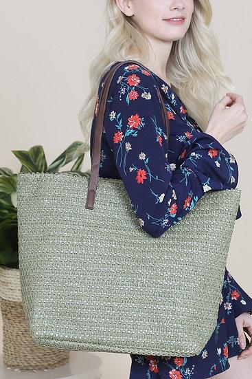 Pb0033-Ol - Olive Straw Tote Bag