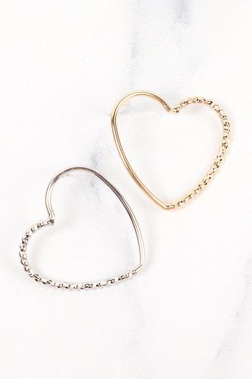 Oeb025 - Gold Open Heart Post Earrings