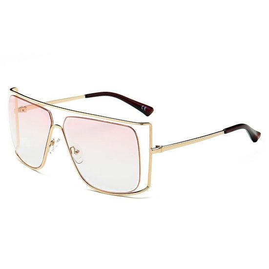 HAMEL | CA01 - Women's Trendy Oversize Flat Top Metal Frame Sunglasses
