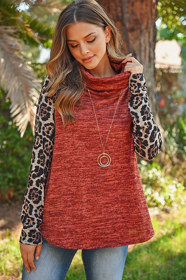 Leopard Sleeve Cowl Neck Two Tones Hacci Top