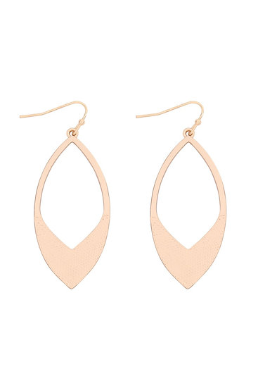Cast Pinched Marquise Hook Earrings
