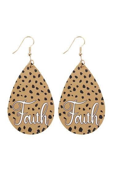"Hde2868 - ""Faith"" Animal Print Leather Fish Hook Earrings"