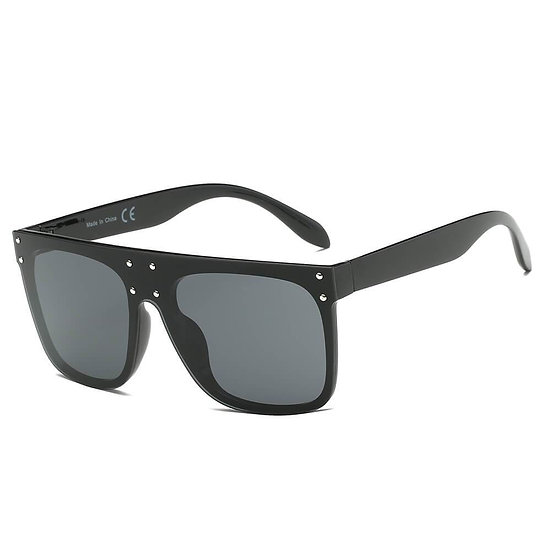 AKRON   S2060 - Flat Top Oversize Mirrored Square Sunglasses Circle