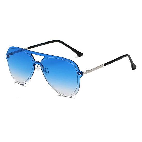 BELFAST   S2065 - Unisex Flat Single Lens Aviator Fashion Sunglasses