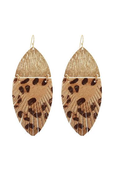 Leather Metal Animal Print Earrings