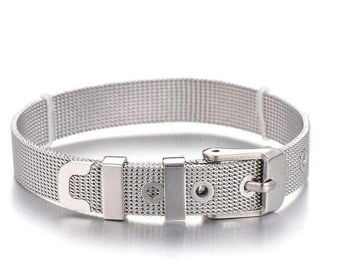 Stainless Steel Slider Bracelet -Silver