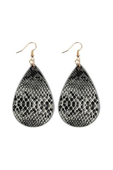 Se6141 - Snake Skin Teardrop Leather Earrings