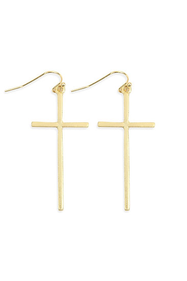 Hde2647 - Cast Cross Hook Drop Earrings