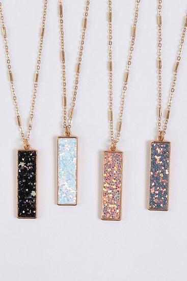Myn1374 - Sequin Glitter Bar Pendant Necklace