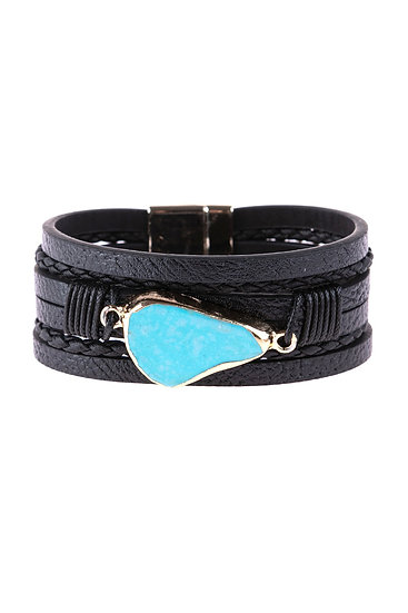 Hdb3125 - Multi Line Leather With Magnetic Lock Charm Bracelet