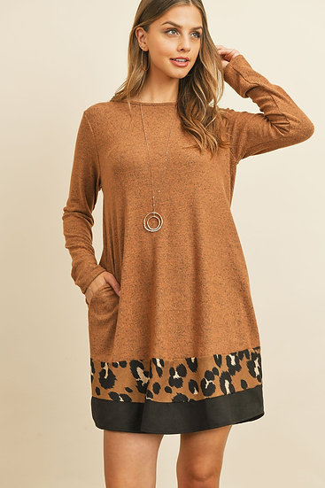 Long Sleeve Leopard Contrast Dress
