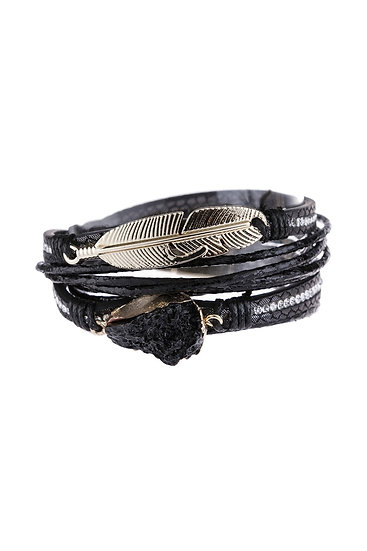 Feather Druzy Leather Wrap Magnetic Bracelet