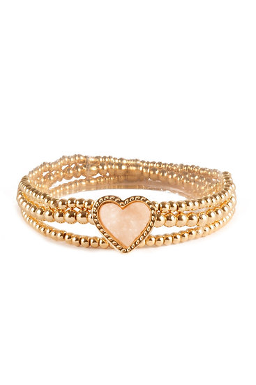 Fb1854 - Druzy Ccb Heart Valentine Elastic Bracelet