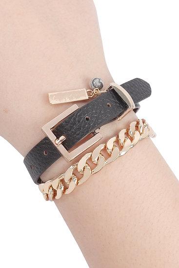 Myb1242 - Leather Chain Choker Bracelet