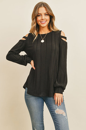 Ladder Open Should Long Sleeved Rib Detail Top